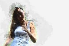 Абстрактная красивая сторона девушки и портрета тела иллюстрация штока