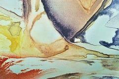Абстрактная краска акварели, покрашенный текстурированный горизонтальный крупный план макроса предпосылки холста silk ткани, напе Стоковая Фотография RF