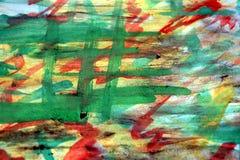Абстрактная краска, зеленый цвет, желтый цвет, акварель, тени, предпосылка Стоковое Изображение