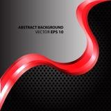 Абстрактная красная волна на сером и черном векторе сетки Стоковые Фото