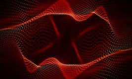 Абстрактная красная геометрическая предпосылка Структура соединения Предпосылка науки Футуристический элемент технологии HUD Стоковое Фото