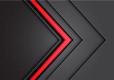 Абстрактная красная линия свет стрелки - серое перекрытие направления металла с вектором предпосылки темного дизайна пустого прос Стоковое Фото