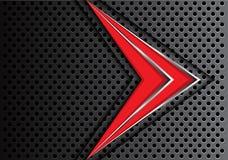 Абстрактная красная линия серебра стрелки на векторе предпосылки темного дизайна сетки круга современном футуристическом Стоковое фото RF