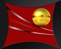 Абстрактная красная предпосылка с золотистой сферой Стоковое Изображение RF