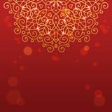 Абстрактная красная предпосылка с орнаментом мандалы Стоковое Изображение RF