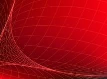 Абстрактная красная предпосылка с сетью Изогните линии в космосе имитируя округленную поверхность Стоковые Фото