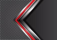 Абстрактная красная серебряная стрелка с серым пустым пространством на векторе предпосылки дизайна сетки круга современном футури Стоковые Изображения
