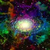Абстрактная красочная вселенная Небо межзвёздного облака звёздное Multicolor космическое пространство Сияющий галактический центр Стоковая Фотография RF