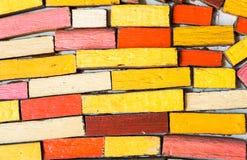 Абстрактная красочная деревянная стена блока для предпосылки Стоковое фото RF