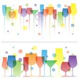 Абстрактная красочная иллюстрация стекел питья вина Шаблон логотипа вектора Концепция для меню бара, спирта бесплатная иллюстрация
