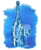 Абстрактная кристаллическая бутылка с стеклом на голубой предпосылке Стоковые Изображения RF