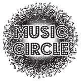 Абстрактная круглая monochrome предпосылка с примечаниями музыки также вектор иллюстрации притяжки corel Стоковые Изображения RF