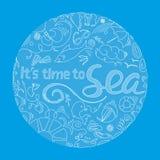Абстрактная круглая предпосылка с надписью оно время ` s к морю и малым чертежам на теме перемещений Стоковые Изображения
