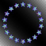 Абстрактная круглая рамка звезд с реалистическим голографическим влиянием Стоковая Фотография RF