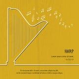 Абстрактная крышка арфы музыки Графическая иллюстрация плаката вектора Современная милая линия предпосылка карточки Ядровая принц Стоковое Изображение RF