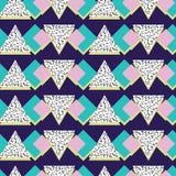 Абстрактная линейная картина вектора треугольника, в стиле Мемфиса, безшовная картина Стоковые Фотографии RF