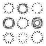 Абстрактная линия звезда стрелки поставила точки вокруг комплекта рамки Круглая форма венков пшеницы Плоский дизайн Белая предпос Стоковые Изображения
