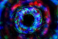 Абстрактная линия от света СИД с зеркалом на черной предпосылке Стоковые Изображения