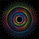 Абстрактная мандала радуги на черной предпосылке r иллюстрация штока