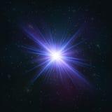 Абстрактная мерцающая реалистическая голубая звезда иллюстрация вектора