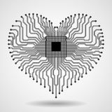 Абстрактная монтажная плата радиотехнической схемы в форме сердца Стоковая Фотография