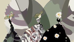 Абстрактная модель девушки эскиза, платье, флористическая шляпа, неделя моды иллюстрация вектора