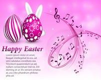 Абстрактная музыкальная предпосылка с розовыми пасхальными яйцами иллюстрация вектора