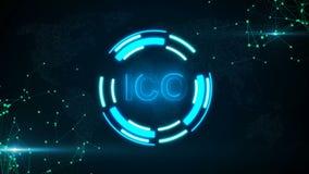 Абстрактная накаляя цифровая кнопка ICO валюты с соединяться ставит точки и flares иллюстрация вектора