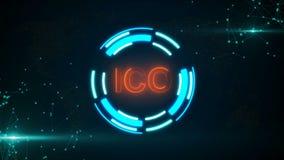 Абстрактная накаляя цифровая кнопка ICO валюты с соединяться ставит точки и flares иллюстрация штока
