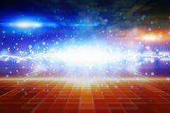 Абстрактная накаляя предпосылка, яркий голубой свет и пирофакелы Стоковое Изображение