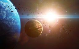 Абстрактная научная предпосылка - планеты в космосе, межзвёздном облаке и звездах Элементы этого изображения поставленные NASA NA Стоковые Изображения