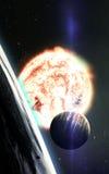 Абстрактная научная предпосылка - планеты в космосе, межзвёздном облаке и звездах Элементы этого изображения поставленные NASA NA Стоковое Изображение
