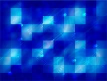 Абстрактная неоновая голубая предпосылка с квадратами Стоковые Изображения