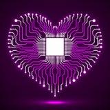 Абстрактная неоновая монтажная плата радиотехнической схемы в форме сердца Стоковая Фотография