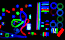 Абстрактная нерезкость черноты предпосылки электрических светов, мягкого фокуса Стоковое Фото