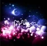 абстрактная ноча города предпосылки иллюстрация вектора