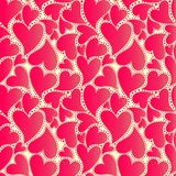 Абстрактная оболочка с красными сердцами Стоковая Фотография