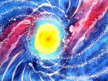 Абстрактная океанская волна моря, картина акварели вселенной солнца стоковая фотография rf