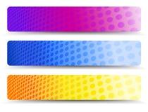 Абстрактная оранжевая фиолетовая и голубая предпосылка знамен сети иллюстрация штока