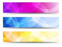 Абстрактная оранжевая фиолетовая и голубая предпосылка знамен сети Стоковые Фото