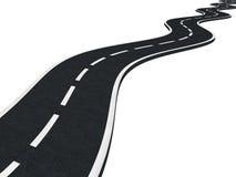 Изогнутая изолированная дорога асфальта Стоковое Изображение RF