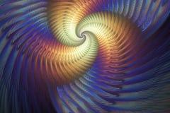 Абстрактная пестротканая психоделическая спираль на темносиней предпосылке Стоковые Изображения RF