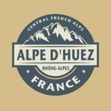 Абстрактная печать с именем городка Alpe Dhuez во Франции иллюстрация штока