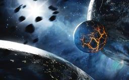 Абстрактная планета с огромными отказами с лавой в космосе Элементы этого изображения поставленные NASA Стоковое Изображение