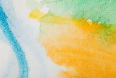 Абстрактная покрашенная текстура акварели Стоковые Изображения