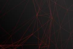 Абстрактная полигональная космоса предпосылка низко поли темная с соединяясь точками и линиями Структура соединения, влияния блес Стоковая Фотография