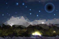 Абстрактная полигональная предпосылка - горы ночи и звёздное небо Стоковые Изображения