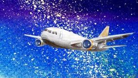 Абстрактная предпосылка акварели звездного пурпурного неба текстурированного как бумага с белыми падениями млечного пути иллюстрация вектора