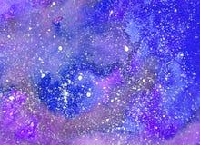 Абстрактная предпосылка акварели космоса, картина галактики акварели стоковая фотография rf