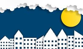 Абстрактная предпосылка города с луной в nighttime, векторе, иллюстрации, бумажном стиле искусства, космосе экземпляра стоковые фото
